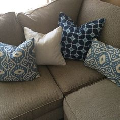 Beautiful ikat blue and white pillows scored by @styledbymaggieh!