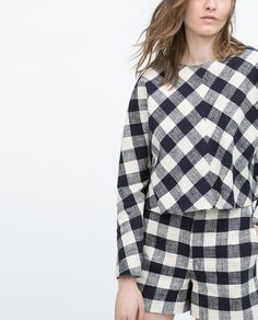 Image 3 of CHECK JAPANESE SLEEVE TOP from Zara
