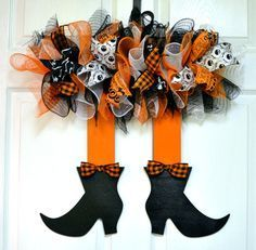 Witch wreath - Witch door hanger wreath Halloween wreath witch skirt wreath door hanger halloween party purple orange black ribbon mesh door by PinkDoorWreaths on Etsy