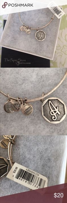 Alex & Ani Bangle Has the letter A. New with tags, comes with a gift box. Perfect for yourself or as a gift... and Mother's Day is just around the corner! Price is flexible. Alex & Ani Jewelry Bracelets