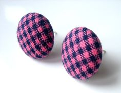 Gingham Pink and Navy Blue Earring Studs Free by MistyAurora, $11.00