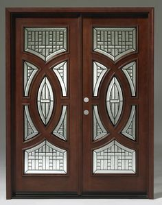 glass designs are bonded with privacy texture decorative glass for beauty and added visual obscurity. Triple glazed glass with full bevel glue chip texture. Solid Wood Mahogany a Pair of Unit! Front Door Design Wood, Room Door Design, Room Furniture Design, Main Door Design, Wooden Door Design, Wooden Doors, Exterior Doors With Glass, Double Doors Interior, Interior Doors