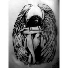 Fallen Angel Tattoo by Heydi - Drawing 46082. ❤ liked on Polyvore