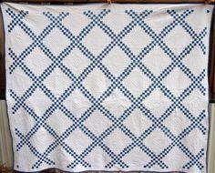 Antique Vintage Irish Chain Blue Indigo by VintageQuiltShop, $599.99