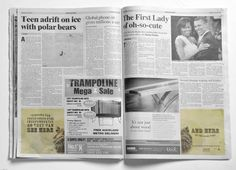 Print advertisement created by Ogilvy, New Zealand for Auckland Zoo, within the category: Recreation, Leisure. Trampoline Safety, Auckland, Polar Bear, Guerrilla, Sayings, Reading, Newspaper, Advertising
