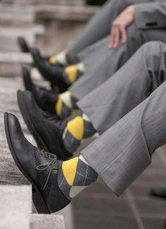 Yellow and grey, argyle socks, sharp and stylish // George Street Photo & Video