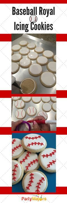 Baseball Royal Icing Cookies DIY Baseball Royal Icing Cookies<br> Here is my step by step to make baseball royal icing cookies. My son's grade class was having a baseball themed party. These would also be great for a baseball themed birthday party. Baseball Treats, Baseball Snacks, Baseball Cookies, Baseball Desserts, Sports Baseball, Baseball Party Foods, Biscuits Baseball, Baseball Cap, Baseball Cake Pops