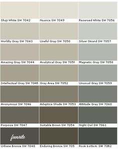 My favorite Sherwin Williams Paint Colors. Silver Strand, Magnetic Gray, Unusual Gray, Worldly Gray, Amazing Gray, Intellectual Gray