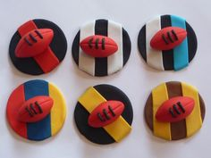 Edible Footy Cupcake Toppers - by SweetPartyTreats on madeit. Any boys cupcake dream!!
