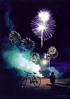 """""""Fire in the Sky"""" Fireworks Watercolor by Paul Jackson"""