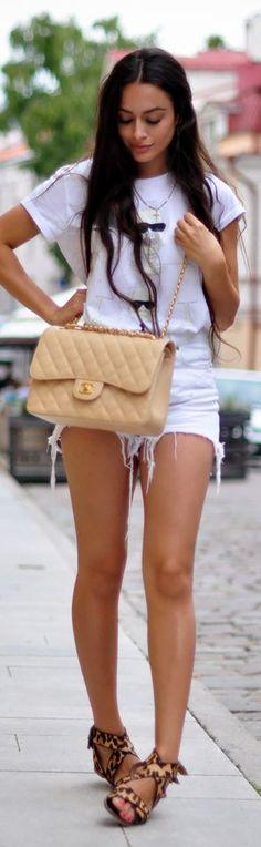 Love the Chanel purse & leopard sandals w/ all white