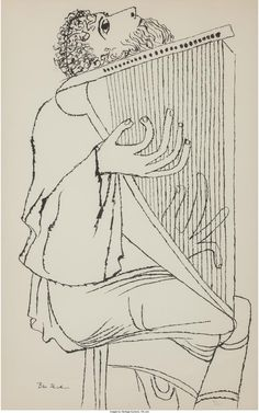 Artwork by Ben Shahn, Man Playing Cithara, Made of lithograph Figure Drawing, Line Drawing, Ben Shahn, Biblical Art, Portrait Sketches, Christmas Drawing, Jewish Art, Book Layout, Art Party