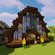 Lovely Minecraft Greenhouse Design - A lovely greenhouse design. Great for inspiration to build on your own Minecraft server. Château Minecraft, Minecraft Poster, Minecraft Villa, Construction Minecraft, Cute Minecraft Houses, Minecraft Mansion, Minecraft Structures, Amazing Minecraft, Minecraft House Designs