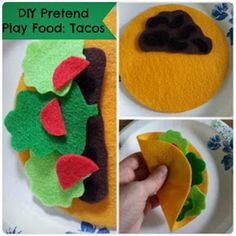 "Munchkin and Bean: DIY Pretend Play Food: Tacos to do with ""Dragons love tacos"" Pretend Food, Pretend Play, Felt Diy, Felt Crafts, Taco Crafts, Diy For Kids, Crafts For Kids, Dragons Love Tacos, Felt Play Food"