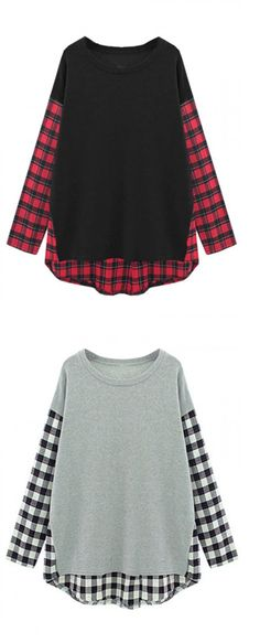 Black Plaid Paneled Long Sleeve T-shirt
