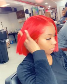 Red Bob Wig Frontal Lace Virgin Human Hair You are strawberry and I want give u a little kiss😘😘 Gorgeous Red bob life👏 What are u waiting for u guys👇 Just check my bio link to order now💃 Baddie Hairstyles, Black Girls Hairstyles, Girl Hairstyles, Braided Hairstyles, Hairstyles Videos, Gorgeous Hairstyles, Hot Beauty Hair, Curly Hair Styles, Natural Hair Styles