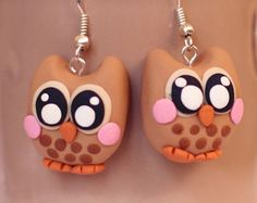 TUBBY 2 owl earrings - polymer clay
