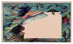 Beautiful Whimsical Mermaid Trade Card - Label - The Graphics Fairy