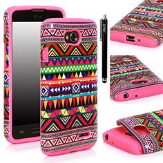 LG Optimus L70 Case - E LV Deluxe Aztec Tribal Pattern Design Hard and Soft High Impact Hybrid Armor Case for LG Optimus L70 with 1 Stylus and 1 Microfiber Digital Cleaner (Hot Pink) E LV