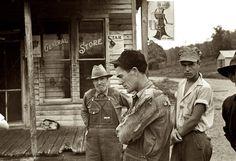 Zinc, Arkansas.: October 1935. Among the few remaining inhabitants of Zinc, Arkansas, deserted mining town. 35mm nitrate negative by Ben Shahn.