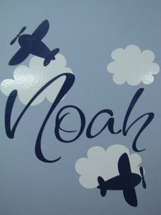 Nursery Name With Custom Name Airplanes And Clouds Wall Decal High by Wide Vinyl Wall Letter Vinyl Wall Quotes, Vinyl Wall Decals, Bible Name Meanings, Airplane Nursery, Baby Silhouette, Baby Clip Art, Mini Canvas Art, Nursery Name, Boys Room Decor