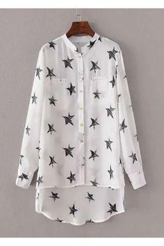 White Stars Printed Long Sleeve Chiffon Blouse