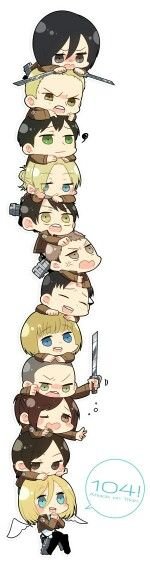Attack on Titan characters, pile, chibi, cute, text; Attack on Titan