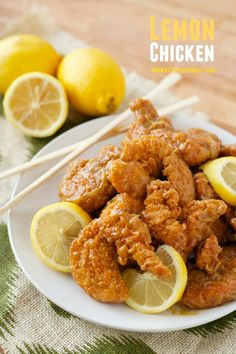 Lemon Chicken: The quickest, easiest, lemon chicken, with a tangy, sweet sauce, and lots of crispy crunch. Plus it comes together in 15 minutes. - Eazy Peazy Mealz