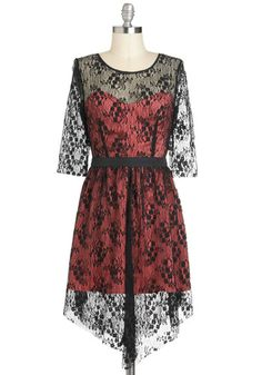 Lace is Glamour Dress - Pink, Black, Solid, Lace, Cocktail, A-line, High-Low Hem, Long Sleeve, Sheer, Short, Film Noir, Vintage Inspired
