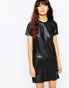 Vero Moda Leather Look Shift Dress With Zip Detailing