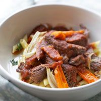 Italian Pot Roast with Penne Slow-cooked beef and vegetables get a hint of anise flavor from fennel and a touch of Italian from tomato-basil pasta sauce. Serve this hearty roast over pasta.
