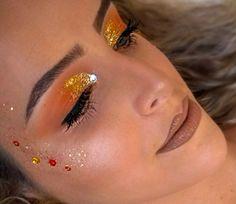 Maquiagem carnavalesca, sol, olho laranja e amarelo, Make Carnaval, Yellow Eyes, Orange Yellow, Terra, Makeup, Fingers, Beauty, Jewelry, Photos