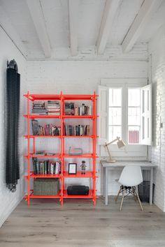 Surprising, modern interior room design. Inspirational pop of color. Home office