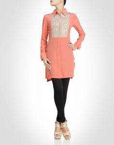 Peach tunic with glittering sequins. Also available in black. Shop Now: www.kimaya.in