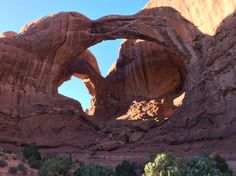 Arches National a Park, Moab,Utah ~ (look closely and see my wife in pink with her arms raised!)