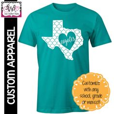 CUSTOM APPAREL: Custom State Pride, School Spirit T-Shirt - Customize for your state!