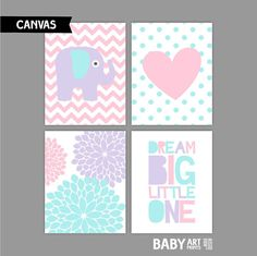Light Pink Aqua and Purple Girl Nursery Canvas by babyartprints