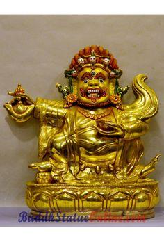Mahakala is the buddhist dharma protector deity of karmapa kyagu which has many forms and this is karzopa black cloaked mahakala with 2 armed. Gold Paint, Cloak, Tibet, Deities, Statues, Buddha, Arms, Painting, Kunst