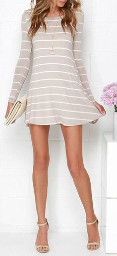 I love this dress, just don't know if horizontal lines would be flattering on me, but I love the dress style as it looks slip on and not too tight and long sleeved (not a fan of showing my arms):