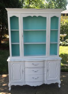 Painted Cottage Chic Shabby Aqua China Cabinet by paintedcottages ...