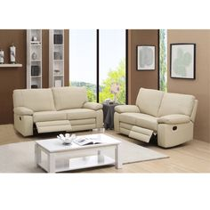 Relax in comfort and style with this ultra-premium reclining leather sofa and leather loveseat set.� This luxurious leather living room furniture is handcrafted using the finest quality materials to create exquisite leather furniture.