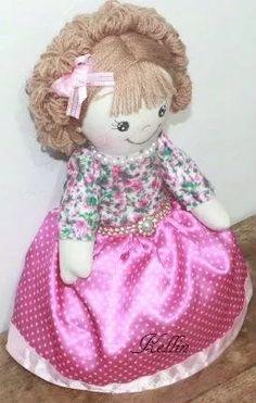 boneca de pano artesanal sofia - 33 cm linda