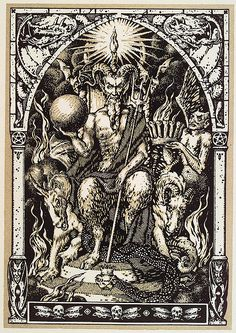 Who is Satan? Is Satan 666 or perhaps the Antichrist? Why is Satan portrayed as a vile evil creature with two horns and a spear, trying to snuff. Fantasy Kunst, Fantasy Art, Magick, Witchcraft, Woodblock Print, Art Noir, Satanic Art, Arte Obscura, Occult Art