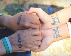 """Me and my Daddy!! I got this tattoo bc my dad was diagnosed with cancer """"Strength for today, hope for tomorrow"""" and of course he got """"cancer sucks"""""""