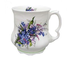 Forget me not Victorian tankard. Fine bone china from England by Berta Hedstrom.