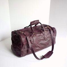80 s Burgundy Leather Duffle Bag Leather Duffle Bag 88a38c412ffe0