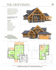 Purcell Timber Frames - The Precrafted Home Company - The Mountain Craftsman would work by changing office into a bedroom and putting a basement under it for a rec room and storage Timber Frame Homes, Timber House, Timber Frames, Prefab Homes, Log Homes, Custom Home Designs, Custom Homes, Techo Mansarda, Container House Plans