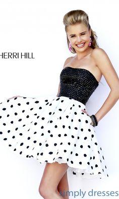 Dress, Strapless Polka Dot Babydoll Dress by Sherri Hill - Simply Dresses