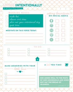 Free Living Intentionally Planner Printable