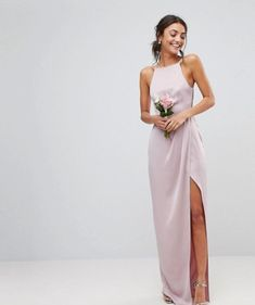 Find the best selection of ASOS DESIGN Tall drape front strappy back maxi dress. Shop today with free delivery and returns (Ts&Cs apply) with ASOS! Plus Size Maxi Dresses, Trendy Dresses, Women's Dresses, Nice Dresses, Evening Dresses, Fashion Dresses, Formal Dresses, High Neck Bridesmaid Dresses, Asos Long Dresses
